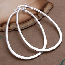 New Women Jewelry 925 Sterling Silver Plated Modern Girls Circle Hoop Earring
