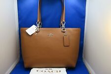 COACH Small Sophia Leather Zip Top Tote Bag NWT (Saddle Brown)