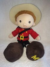 """Royal Canadian Mounted Police MP Man Stuffed Plush Guy Toy 12"""" Brown Hair Canada"""