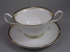 WEDGWOOD CAVENDISH TWO HANDLED SOUP COUP AND SAUCER.
