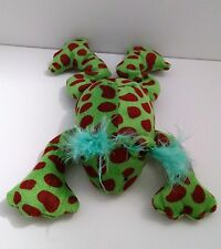 """Green&Brown Spotted Frog w/Blue Eyelashes 9"""" Plush Stuffed Animal"""