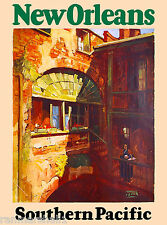 New Orleans Louisiana Train Vintage United States Travel Advertisement Poster