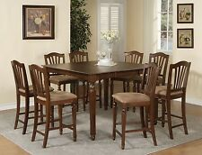 Chelsea 9pc set counter height table w/ 8 microfiber upholstered chairs mahogany