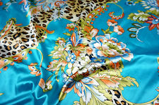 "BLUE ANIMAL PRINT & FLORAL SMOOTH SATIN FABRIC 44""W DRESS KIMINO QUILT DRAPE"