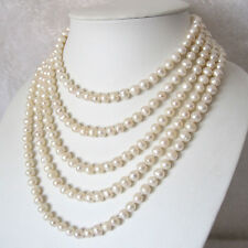 """90"""" 6-8mm White Freshwater Pearl Necklace Strands UK"""