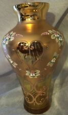 Vnt Moser Bohemian Czech Large Glass Vase, Amber/gold 24K Gold Enameled Flowers*