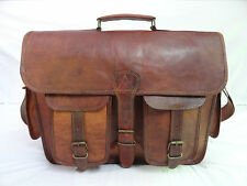 "17x13"" Vintage Leather Padded Briefcase Messenger Bag Satchel Laptop Macbook Bag"