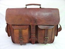 """17x13"""" Vintage Leather Padded Briefcase Messenger Bag Satchel Laptop Macbook Bag"""