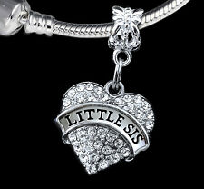 Little sis Charm Fits European style Bracelet Great gift for baby sisters