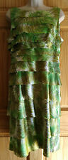 London Times Green Starburst Print Teir Sheath Dress Sz 12