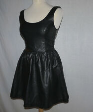 RETRO VINTAGE H&M DIVIDED IMITATION SOFT BLACK LEATHER FASHION DRESS UK 6-8 MINT