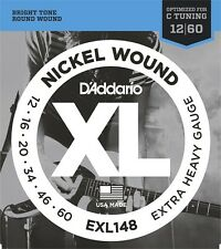 3 x D'Addario EXL148 Electric Guitar Strings Drop C 12-60 .3 SEPARATE PACKETS