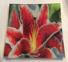 """STUNNING 11 7/8"""" Square Prima Donna Art Glass TIGER LILY Serving Dish Plate"""