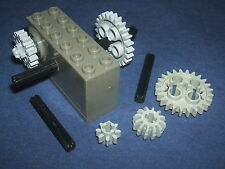 LEGO TECHNIC Grey Windup Motor 2 x 6 x 2 1/3 with extra Gears and worm Axles