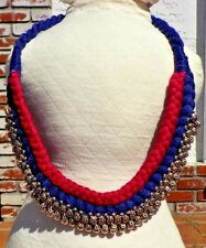 PURPLE & MAGENTA CORD & SILVER KUCHI TRIBAL BELLY DANCE NECKLACE FREE SHIPPING