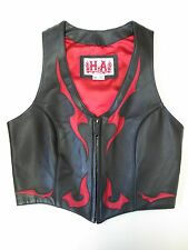 GENUINE HA LEATHER WOMENS MOTORCYCLE VEST SIZE XS HELLS ANGELS