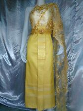 THAI WEDDING DRESS TRADITIONAL BRIDAL GOWN THAILAND BEAUTIFUL STUNNING GOLD