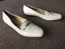AUTH BALLY VANESSA IVORY LEATHER LOAFERS FLATS SHOES Sz 8 1/2 N