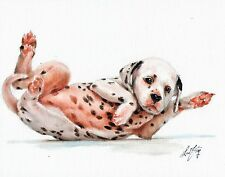 Original Oil Art DALMATIAN Portrait Painting DOG PUPPY Artist Signed Artwork