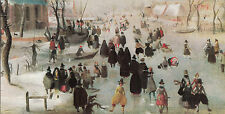 Vintage Happy Christmas Greeting Card Hendrick Avercamp Winter Scene in Holland.