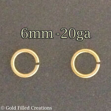 20pcs Gold filled open jumprings 6mmx0.8mm jewellery making findings gold