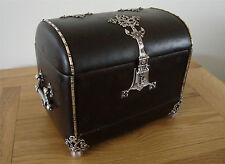 Antique German Embossed Leather Needlework Sewing Corset Box Treasure Chest Case