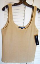 "NWT Ellen Tracy 100% Silk Ribbed Golden ""Wheat"" Shell Tank XL Free Shipping"