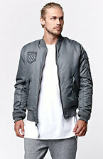 NEW MEN'S BEEN THRILL GREY BOMBER PATCH JACKET FLIGHT JACKET SIZE SMALL