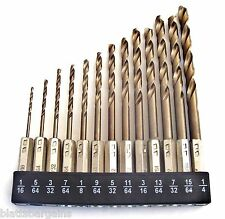 13pc ATE PROFESSIONAL SOLID COBALT HEX SHANK QUICK CHANGE DRILL BIT SET 32073