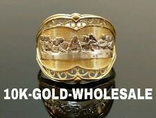 NEW 10K YELLOW GOLD LAST SUPPER HIP HOP STYLE RING  MENS & LADIES 4537