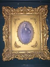 """Antique Italian Gold Gilt Carved Frame With Early Portrait 12 1/2""""x 10 1/2"""""""
