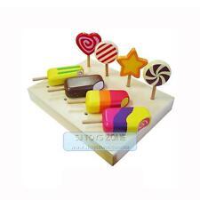 Kids Wooden Ice Cream Bar Lollipop w Stand * 8 pcs Kitchen Toy Pretend &Play