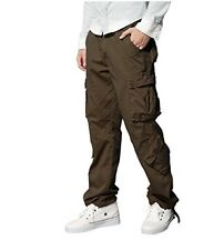 """Men's Retro Cargo Trousers Chinos Trousers W38"""" Long High Quality BROWN RRP £38"""