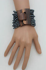 New Women Pewter Beads Wrist Bracelet Elastic Band Brown Wood Buckle Wide Bangle