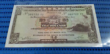 1975 Hong Kong & Shanghai Banking Corporation $5 Note 392722 FZ Dollar Currency