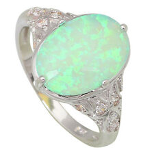 AR444 Design Silver Opal Fina Jewelry Women's rings Green Fire Opal size 8