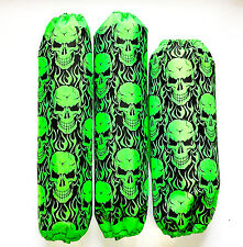 Shock Covers Suzuki LTZ250 LTZ400 LTZ450 Neon Green Skulls ATV Set 3