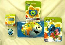 Sesame Street Cookie Monster Infant Bottle,Pacifier,Wipers Travel Case,& Rattler