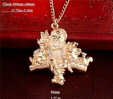 Chic Gold Plated Rhinestone Crystal Geezer & Animals Pendant Necklace Jewelry
