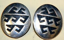 Nice older Hopi Native American Indian clip ear rings silver overlay Hopicraft