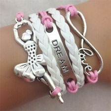HOT Infinity Love Ballet Girl Friendship plated Silver Leather Charm Bracelet