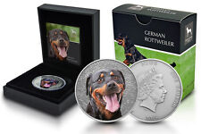 Niue 1 Oz Silber German Rottweiler Farbe 2015 Etui *Watch and Guard Dogs Serie