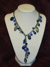 STYLE & CO NWT $28 Hematite-Tone Shaky Blue Bead Y-Shaped women's Necklace