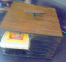 8 track plastic Case Holds 24 Tapes Wood look swivel base