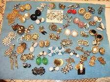 LOT of 60 Signed Earrings-Trifari,Emmons,Givenchy,Hobe',Kramer,Giovanni,Vogue