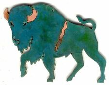 """COPPERCUTTS Prancing Buffalo Plaque 4"""" x 5"""" Rustic SouthWest Copper and Wood"""