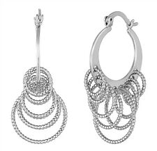 NEW! Chic Lia Sophia MACHU PICCHU Silver Hoops w/Dangling Rings Earrings