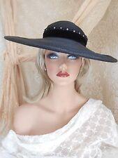 VINTAGE Pristine 1940's WIDE BRIM Black STRAW Velvet RHINESTONES Gorgeous HAT