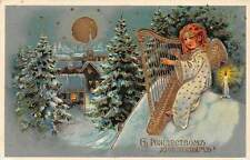 Merry Christmas! Moonlight Stars, Angel Cherub Harp, Gold 1912