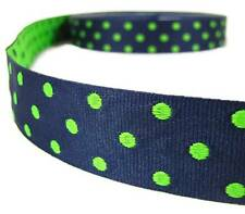 "5 Yds Reversible Polka Dot Stripes Dark Blue Green Woven Jacquard Ribbon 1""W"